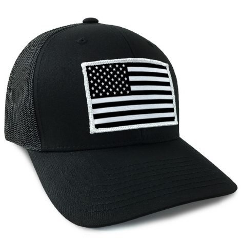 black and white usa flag hat