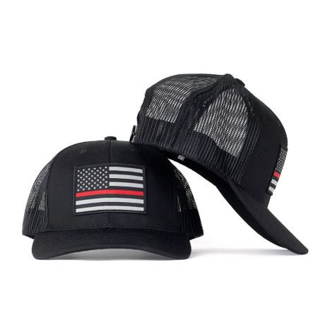 thin red line american flag snapback trucker hat