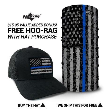 Thin Blue Line Digital American Flag Hat + FREE Bandana. hoorag.com USA  Flag Hats Thin Blue Line Digital American Flag Hat + FREE Bandana f696be46e13c