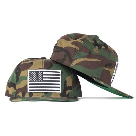 black and white american flag on camo hat