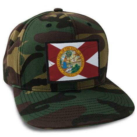 florida flag patch on camo snapback hat
