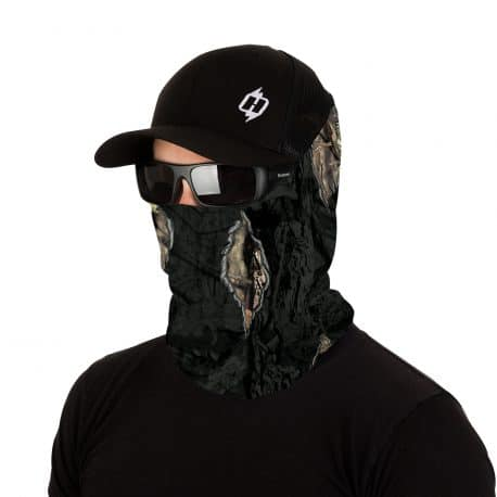 image of model wearing the mossy oak eclipse camo bandana, sunglasses and hat