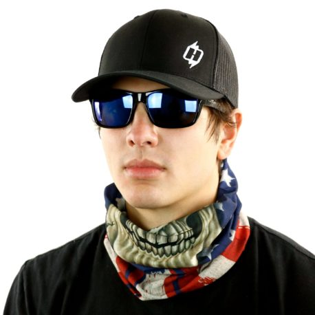 skull american flag motorcycle neck gaiter bandana