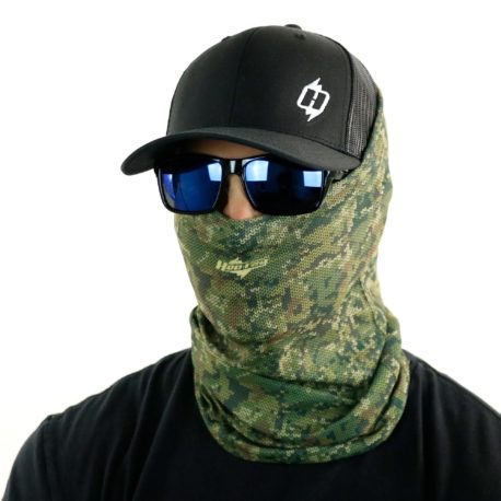 image of male model in hat, sunglasses and tubular bandana in camo color bandana with knit design being worn as a face mask