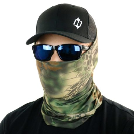 image of male model in hat, sunglasses and tubular bandana in kryptek mandrake design being worn as a face mask