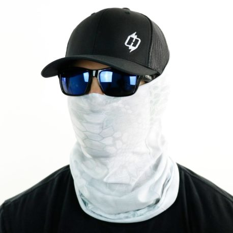 image of male model in hat, sunglasses and tubular bandana in kryptek wraith design being worn as a face mask