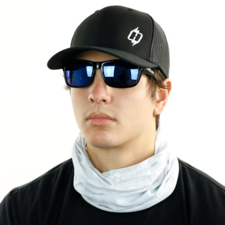 image of male model in hat, sunglasses and tubular bandana in kryptek wraith design being worn as a neck gaiter