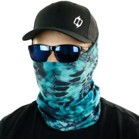 image of male model in hat, sunglasses and tubular bandana in kryptek pontus design being worn as a face mask