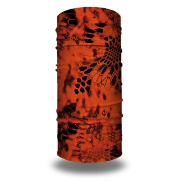 image of a tubular bandana in the kryptek inferno design