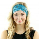 blue floral headband bandana model