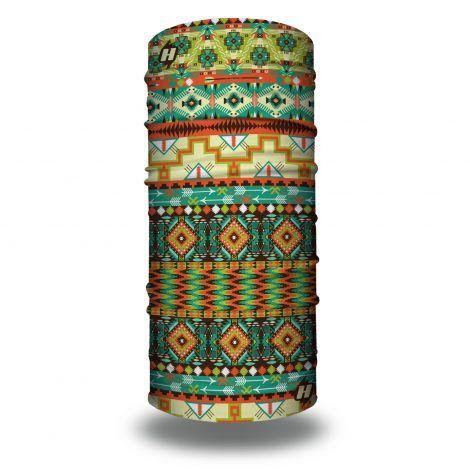 tribal orange green bandana
