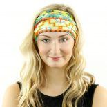tribal orange green headband bandana
