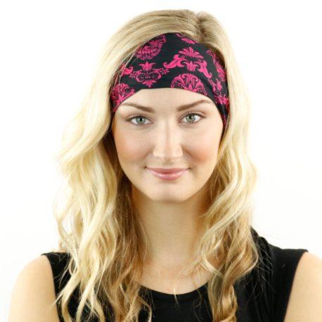 HRL20 pink skulls headband bandana
