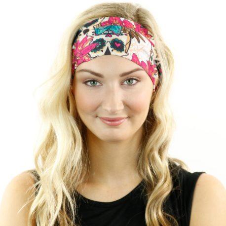 HRL23 floral skulls headband bandana