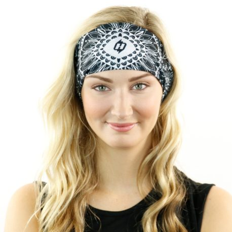HRL29 paisley mandala lace black headband bandana