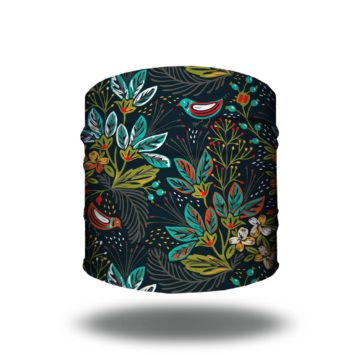 navy floral birds headband bandana