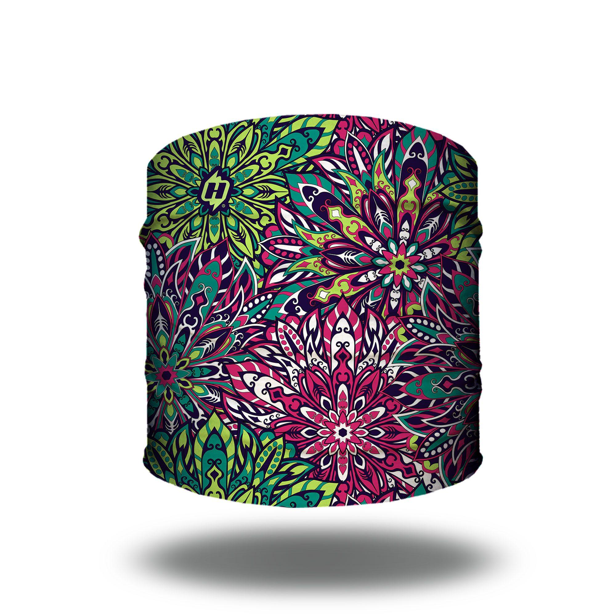floral fireworks pink green headband bandana