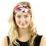 floral palms tropical pink headband bandana