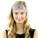 floral pink teal headband bandana