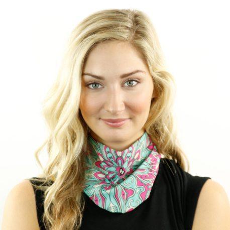 floral pink teal neck gaiter bandana