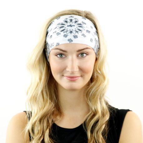 white paisley headband bandana
