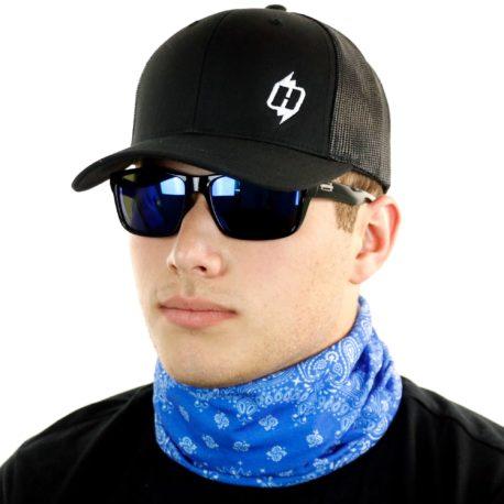 blue paisley neck gaiter bandana