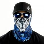 blue skull eighties rock motorcycle face mask bandana HRB39