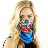 candy skull teal motorcycle face mask bandana HRB18