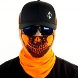 safety orange skull motorcycle face mask bandana HRB21