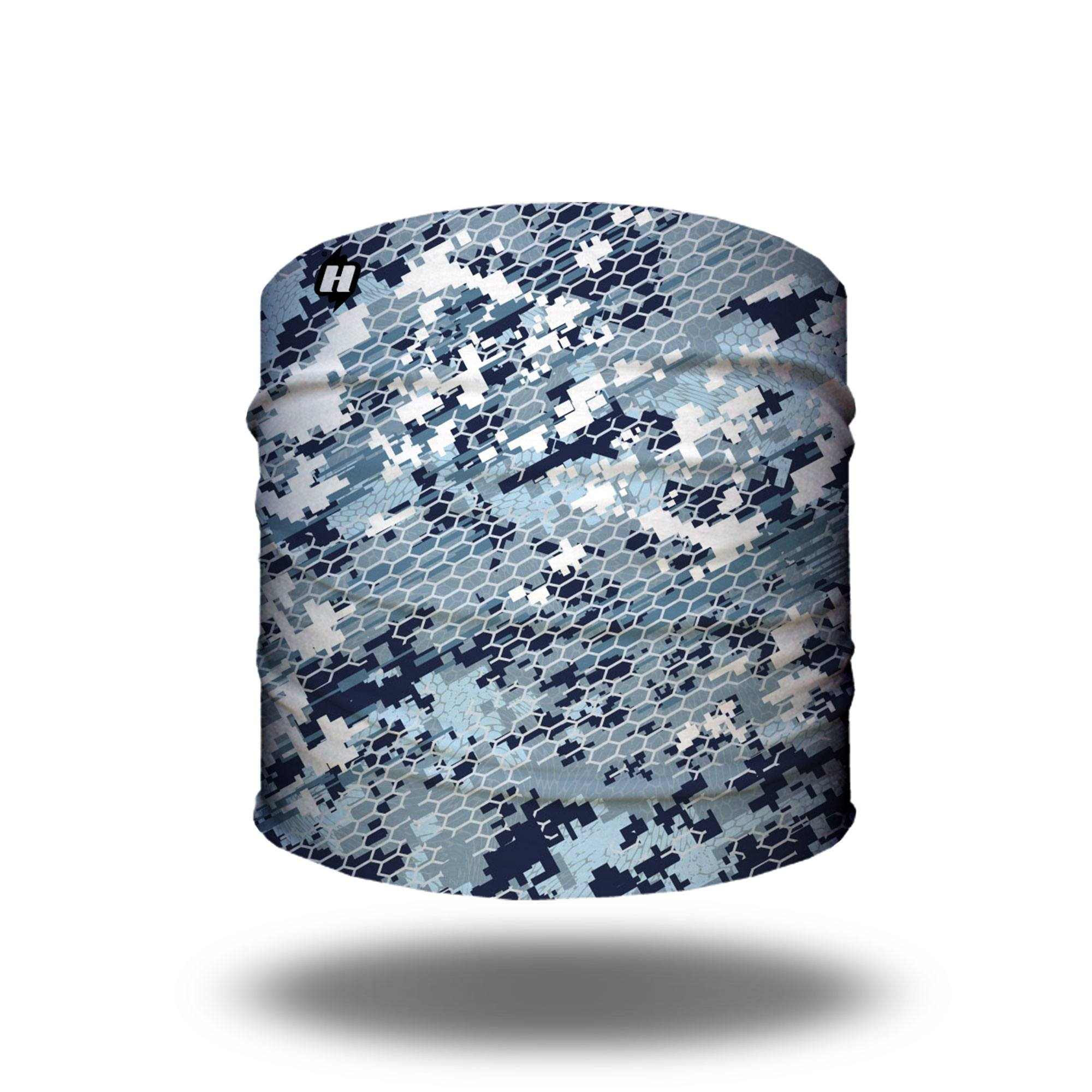 Blue digital camo hunting headband bandana
