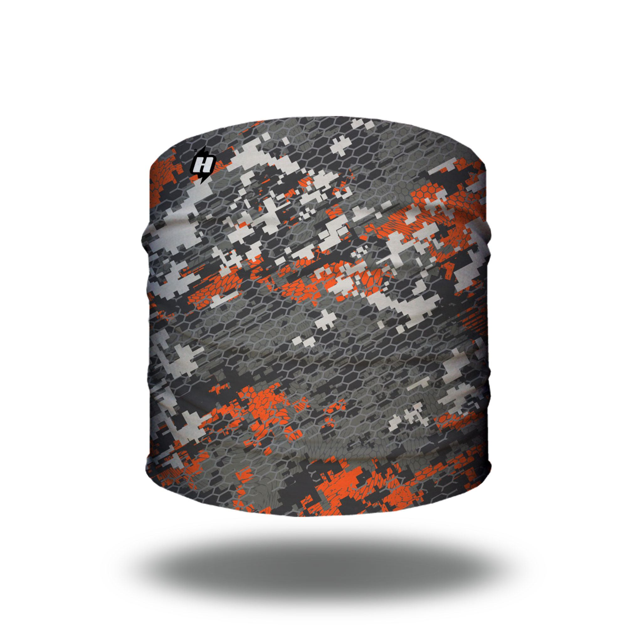 orange digital camo hunting headband bandana