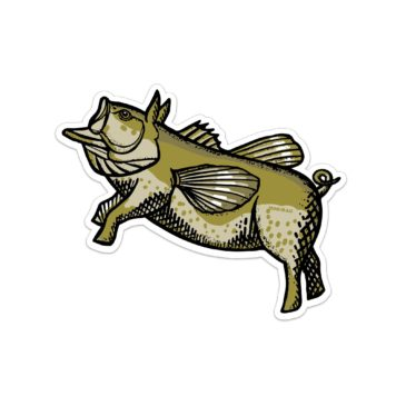 Flying Pond Pig Sticker