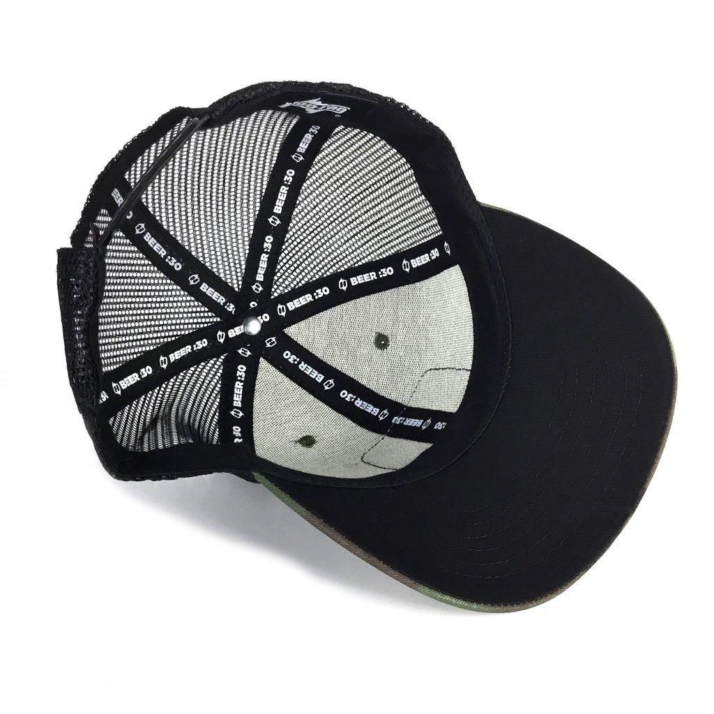 ccc26226487 Beer 30 Camo Snapback Trucker Hat with Bottle Opener