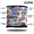 Skull and flower scarf neck gaiter headband in blue and purple