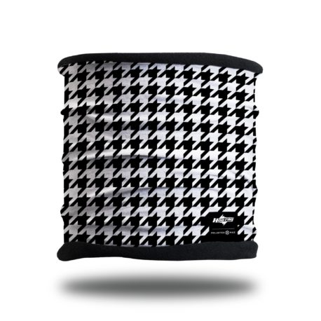 PTM10 black and white houndstooth fleece lined headband scarf neck gaiter