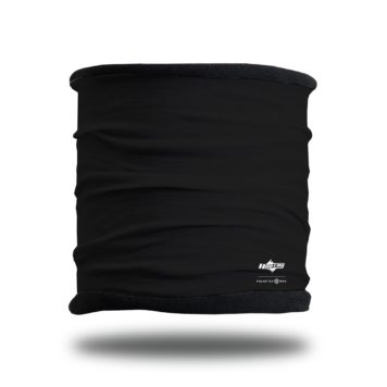 image of a fleece lined multifunctional headband in a solid black outer layer with black fleece