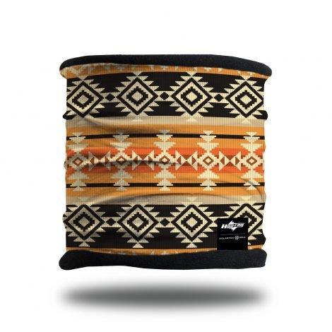orange and black tribal fleece lined headband scarf neck gaiter