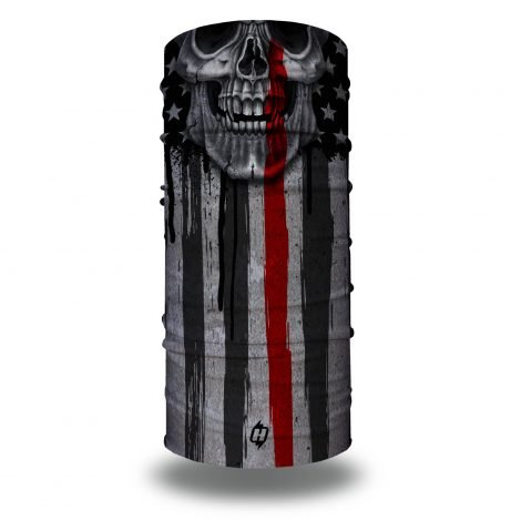 Skull Thin Red Line Flag by Hoo-rag