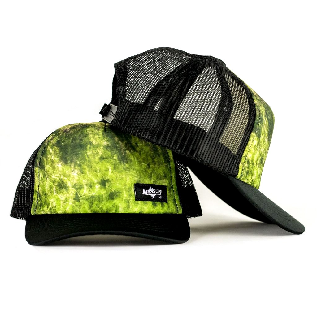 bass fishing hat fish skin pattern in trucker snapback