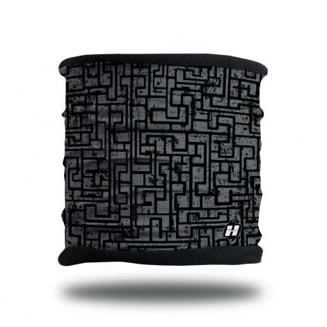 black and gray maze fleece lined headband neck gaiter scarf
