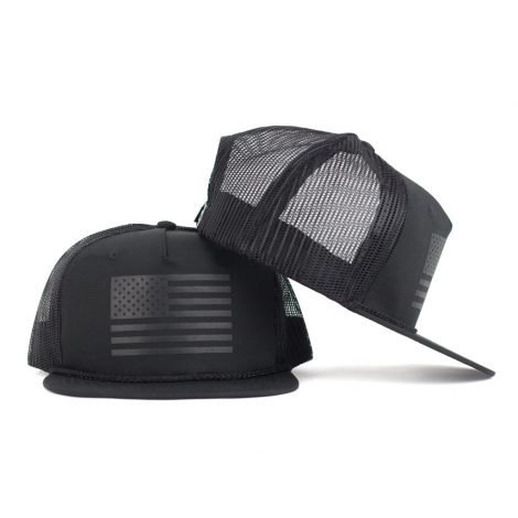 glossy black on black american flag snapback trucker hat