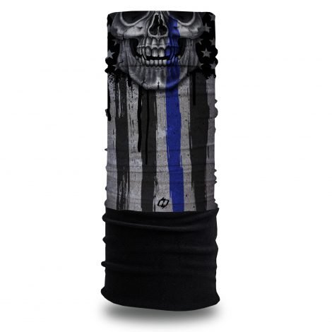 Thin Blue Line Skull Fleece Winter Bandana @ Hoo-rag