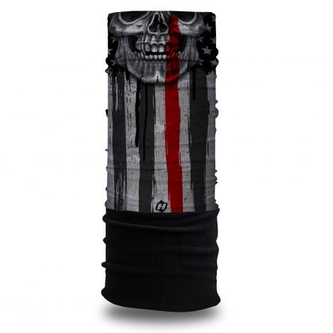 Thin Red Line Skull Fleece Winter Bandana @ Hoo-rag