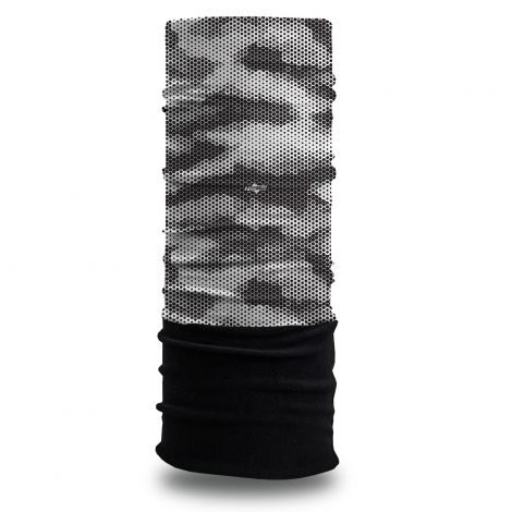 Grayscale Hexagonal Fleece Winter Bandana | Face Masks @ Hoo-rag