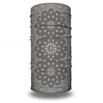 image of tubular bandana with a paisley design on a gray background