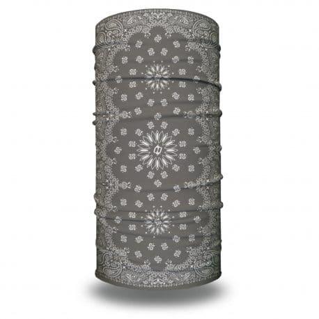 image of tubular bandana with a paisley design on a gray background