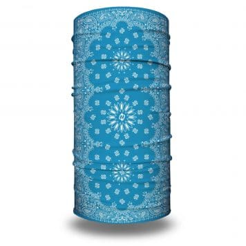 image of tubular bandana with a paisley design on a light blue background