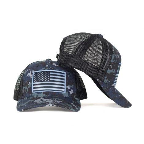 American Flag Blue Camo Hat + Free Face Mask Bandana - Hoo-rag ee6863e56cb6