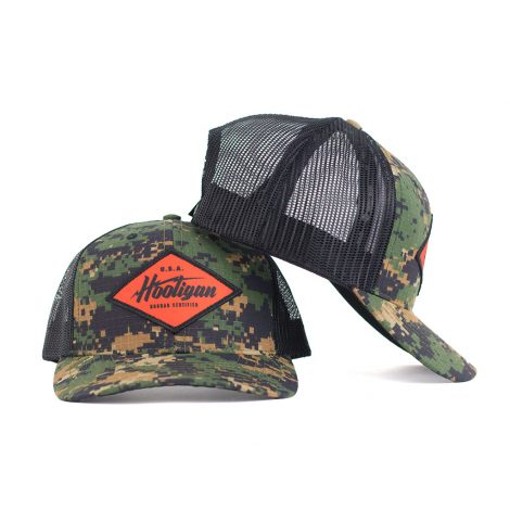 safety orange electric hooligan snapback trucker hat in camo