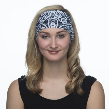 Black and White Lace Yoga Headband | Bandanas by Hoo-rag just $15.95